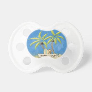 Vago, palmeras y tablas hawaianas de la playa chupetes de bebé