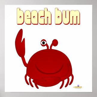 Vago rojo sonriente de la playa del cangrejo impresiones