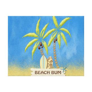 Vago, tablas hawaianas, palmeras y arena de la pla impresión en lienzo