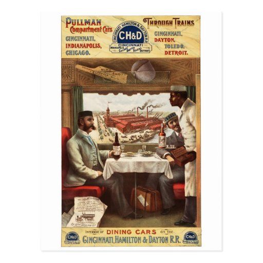 Vagón restaurante 1894 del pullman de CH&D Postales