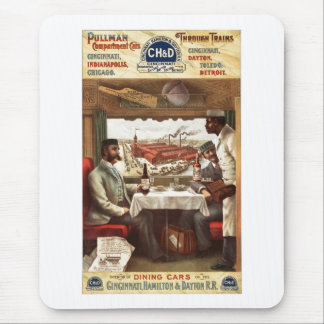 Vagón restaurante del pullman en el tren 1894 tapetes de ratón