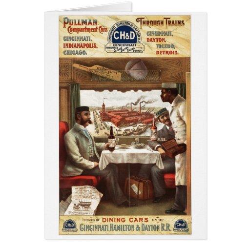 Vagón restaurante del pullman en el tren 1894 felicitaciones