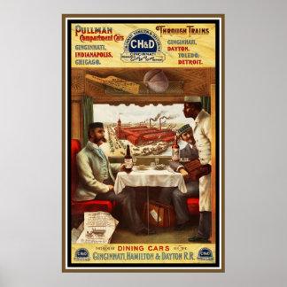 Vagones restaurantes del tren del pullman del póster