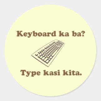 ¿Vagos de ka del teclado Mecanografíe Kita Pegatinas Redondas