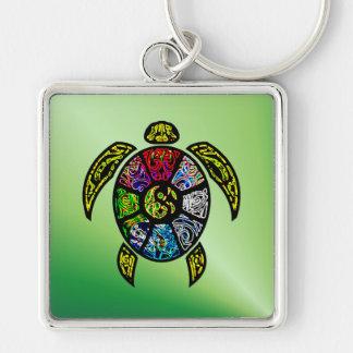 Vagos-Gua de la tortuga Llavero Cuadrado Plateado