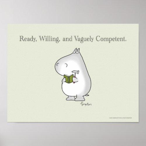Vaguely Competent Hippo by Sandra Boynton Poster