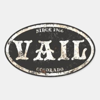 Vail Black Grunge Rust Oval Sticker