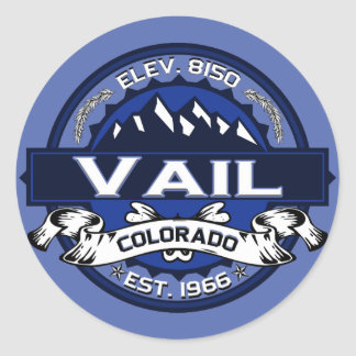 Vail City Logo Blue Classic Round Sticker