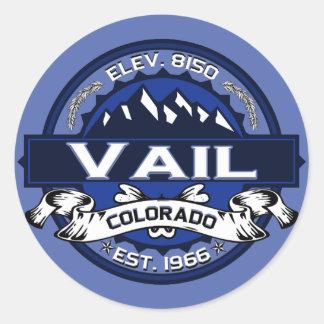 Vail City Logo Blue Classic Round Sticker