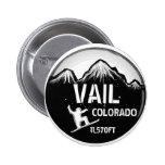 Vail Colorado black white snowboard art button