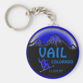Vail Colorado blue snowboard art keychain