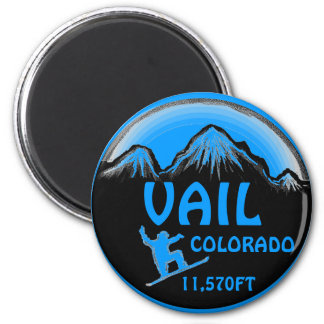 Vail Colorado blue snowboard art magnet