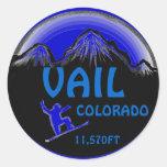 Vail Colorado blue snowboard art stickers