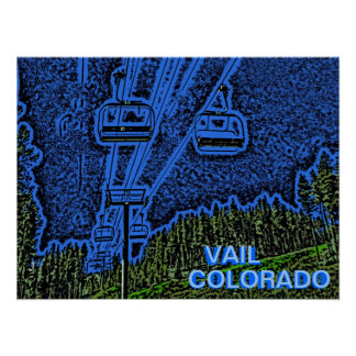 Vail Colorado chair lift artistic poster