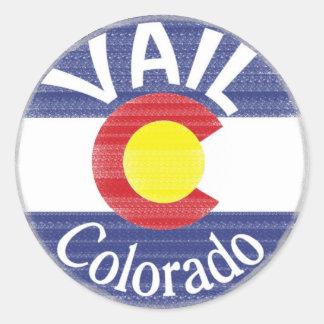 Vail Colorado circle flag Classic Round Sticker