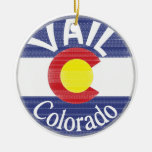 Vail Colorado circle flag Double-Sided Ceramic Round Christmas Ornament