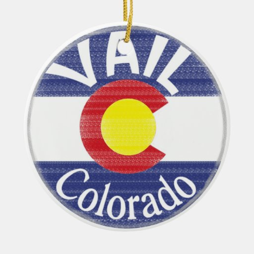 Vail Colorado circle flag Christmas Tree Ornament