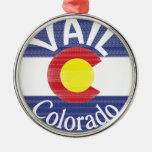 Vail Colorado circle flag Round Metal Christmas Ornament