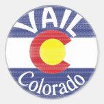 Vail Colorado circle flag Round Stickers