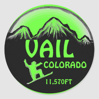 Vail Colorado green snowboard art stickers