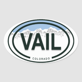 Vail Colorado Rocky Mountain Tag Oval Sticker