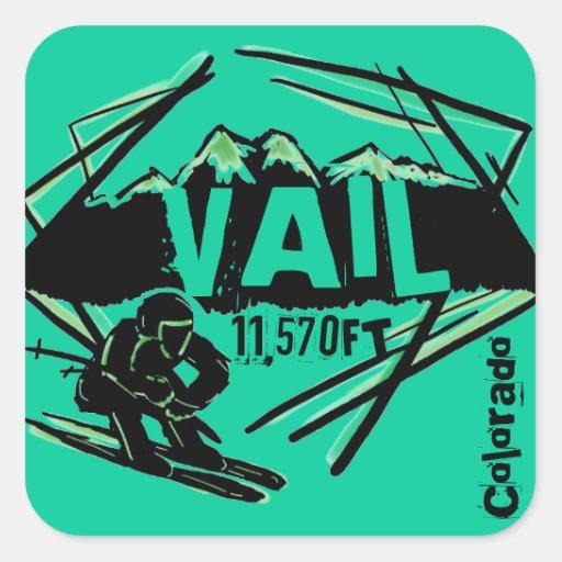 Colorado Elevation: Vail Colorado Ski Elevation Teal Stickers
