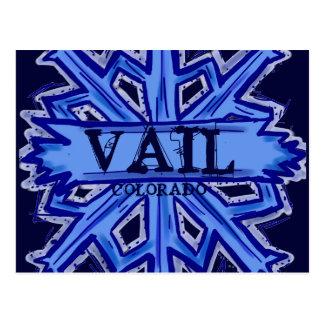 Vail Colorado winter snowflake postcard