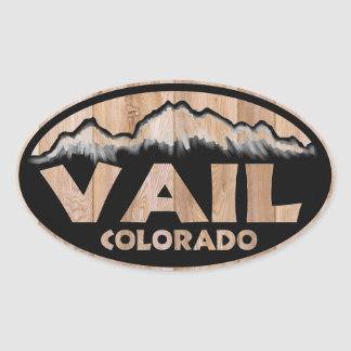 Vail Colorado wood sign oval stickers