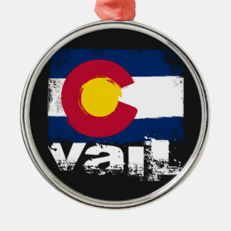 Vail Grunge Flag Metal Ornament