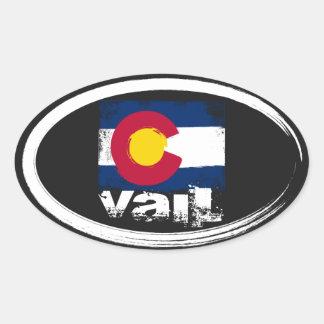Vail Grunge Flag Oval Sticker
