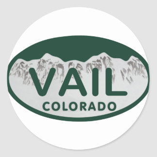 Vail license oval classic round sticker