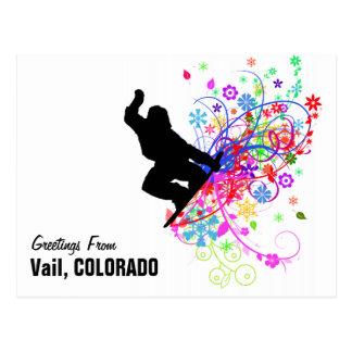 Vail, postal de la snowboard de Colorado