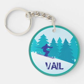 Vail Skier Personalized Keychain