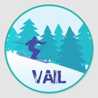 Vail Snow Skiing Circle Classic Round Sticker