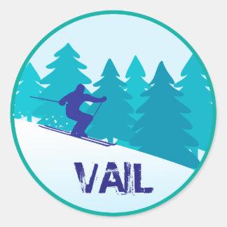 Vail Snow Skiing Circle Classic Round Sticker