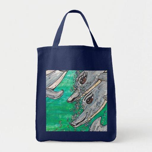 Vaina amistosa del delfín bolsa tela para la compra