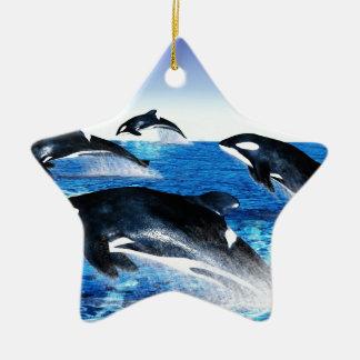 Vaina de la orca adorno navideño de cerámica en forma de estrella
