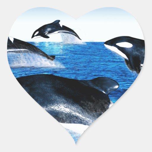 Vaina de la orca calcomanías de corazones