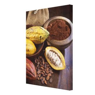 Vaina del cacao que contiene las habas del cacao impresion de lienzo