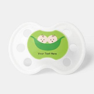 Vainas de guisante gemelas (personalizable) chupetes de bebe