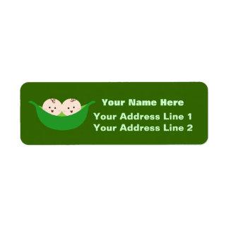 Vainas de guisante gemelas (personalizable) etiqueta de remitente