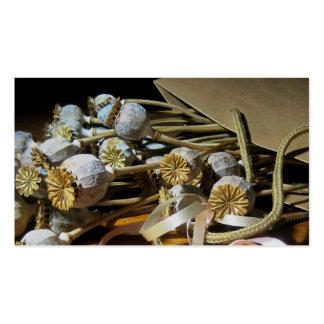 Vainas secadas de la amapola de la flor plantilla de tarjeta de visita