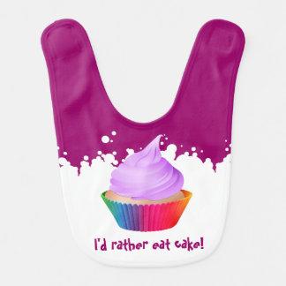 Vainilla púrpura adaptable Cupake del arco iris de Babero