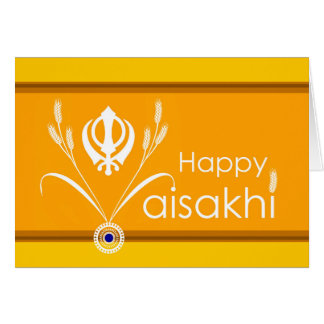 Vaisakhi feliz, símbolo sikh de Khanda con trigo Tarjeta De Felicitación