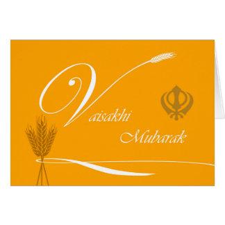 Vaisakhi Mubarak, Grain, Ribbon, Khanda Card