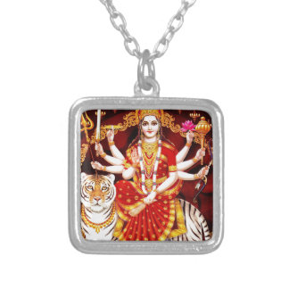 VAISHNO DEVI HINDU GODDESS SILVER PLATED NECKLACE