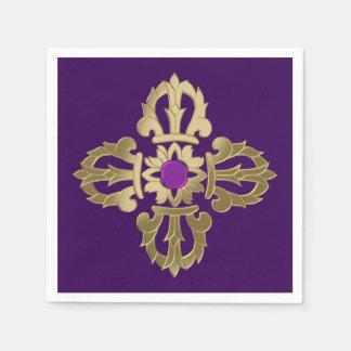 Vajra golden buddhist symbol paper napkin