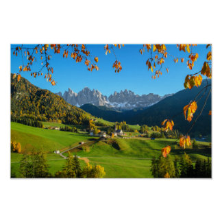 Val di Funes valley with autumn leaves poster
