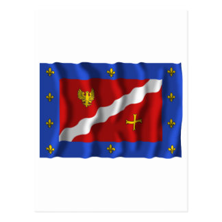 Val-d'Oise waving flag Postcard