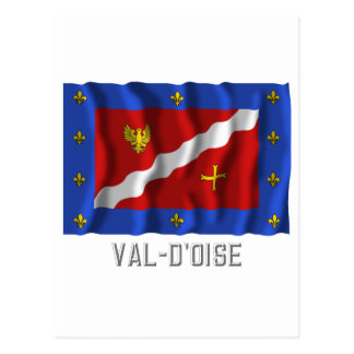 Val-d'Oise waving flag with name Postcard